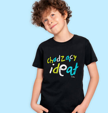 Endo - T-shirt z krótkim rękawem dla chłopca, z napisem chodzący ideał, czarny, 2-8 lat C06G167_1 1