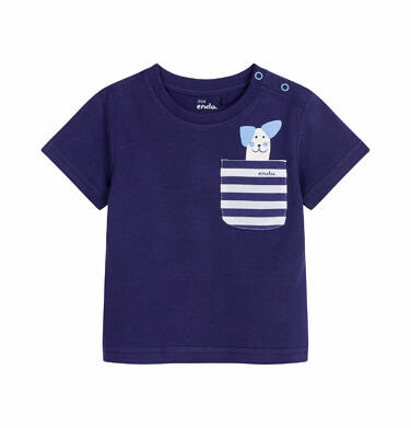 Endo - T-shirt z krótkim rękawem dla dziecka do 2 lat, pies w kieszonce, granatowy N03G030_1