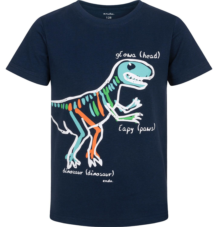 Endo - T-shirt z krótkim rękawem dla chłopca, z dinozaurem, granatowy, 9-13 lat C06G003_2