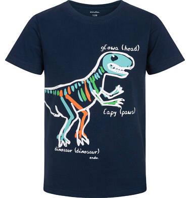 Endo - T-shirt z krótkim rękawem dla chłopca, z dinozaurem, granatowy, 9-13 lat C06G003_2 129