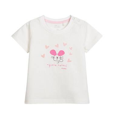 Endo - Bluzka z krótkim rękawem dla dziecka do 2 lat, z myszką, porcelanowa N03G031_1