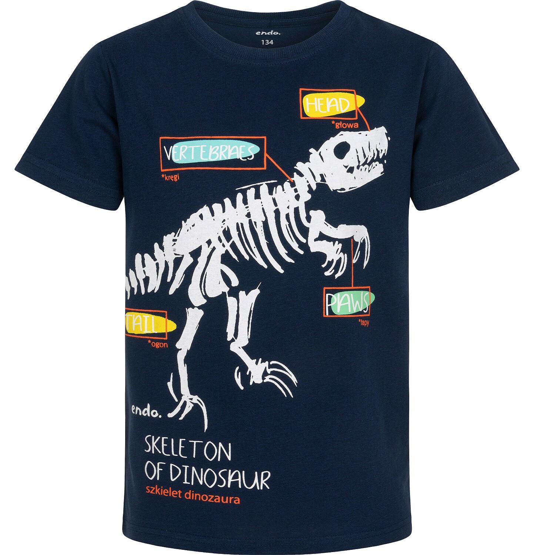 Endo - T-shirt z krótkim rękawem dla chłopca, ze szkieletem dinozaura, granatowy, 9-13 lat C06G005_1