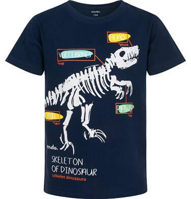 Endo - T-shirt z krótkim rękawem dla chłopca, ze szkieletem dinozaura, granatowy, 9-13 lat C06G005_1 7
