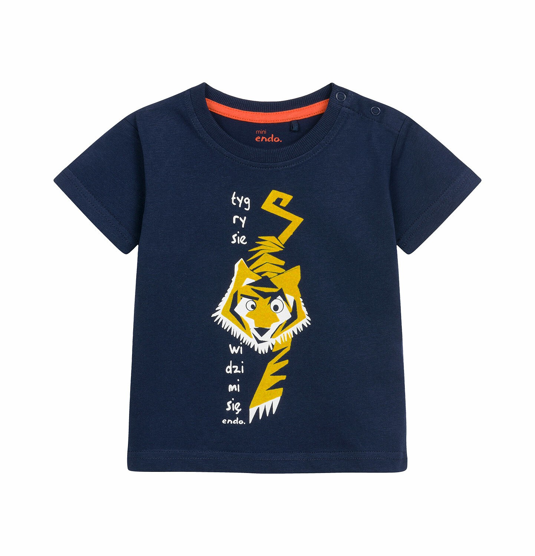 Endo - T-shirt z krótkim rękawem dla dziecka do 2 lat, z tygrysem, granatowy N03G007_1
