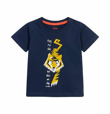 T-shirt z krótkim rękawem dla dziecka do 2 lat, z tygrysem, granatowy N03G007_1