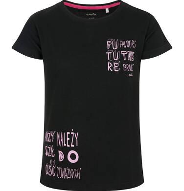 Endo - Bluzka z krótkim rękawem dla dziewczynki, czarna, 2-8 lat D03G163_1 79