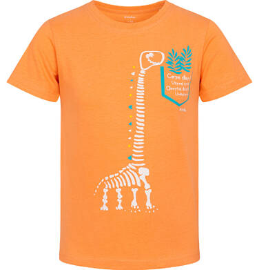 Endo - T-shirt z krótkim rękawem dla chłopca, ze szkieletem dinozaura, pomarańczowy, 2-8 lat C06G011_1 3