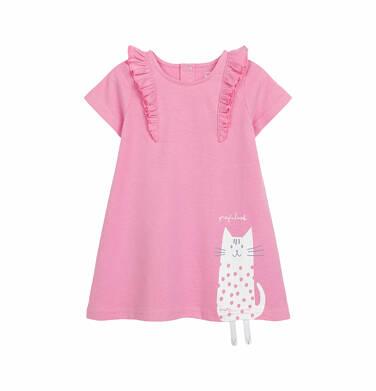 Sukienka z krótkim rękawem dla dziewczynki do 2 lat, z kotem, różowa N03H013_1