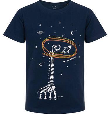 Endo - T-shirt z krótkim rękawem dla chłopca, ze szkieletem dinozaura i rakietą, granatowy, 2-8 lat C06G016_1 4