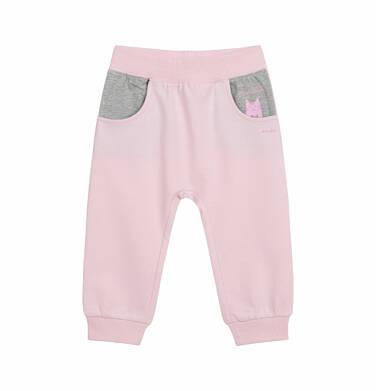 Endo - Spodnie dresowe dla dziecka do 2 lat, z motywem kota - przytulaska, różowe N03K026_1