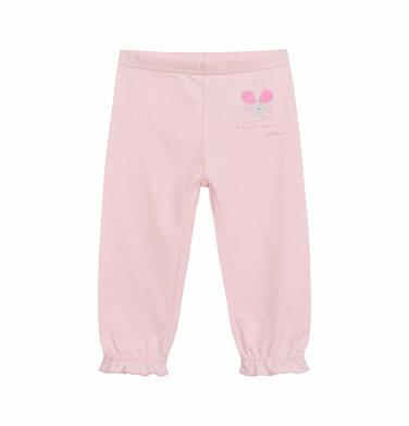 Endo - Spodnie dla dziecka do 2 lat, z myszką i ściągaczami na nogawkach, różowe N03K029_1 16