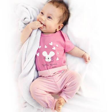 Endo - Spodnie dla dziecka do 2 lat, z myszką i ściągaczami na nogawkach, różowe N03K029_1 4