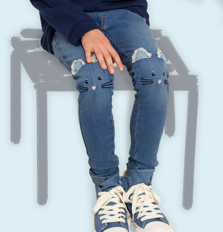 Endo - Spodnie jeansowe dla dziewczynki, jegginsy, 2-8 lat D04K040_1