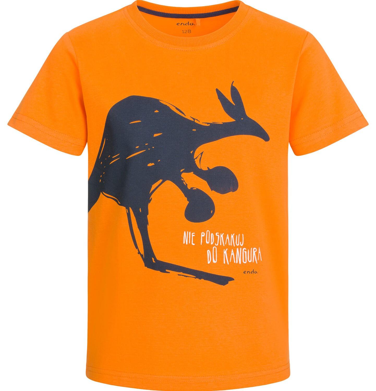 Endo - T-shirt z krótkim rękawem dla chłopca, z kangurem, pomarańczowy, 2-8 lat C03G027_1