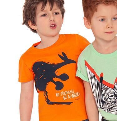 Endo - T-shirt z krótkim rękawem dla chłopca, z kangurem, pomarańczowy, 2-8 lat C03G027_1,2