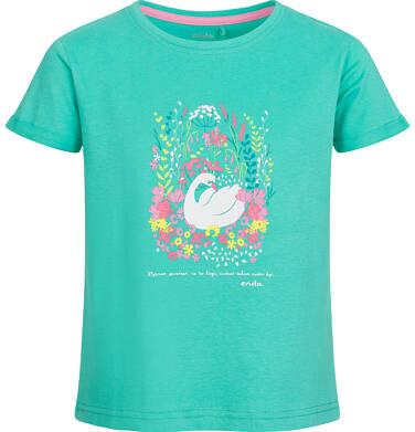 Endo - Bluzka z krótkim rękawem dla dziewczynki, z łabędziem i kwiatowym motywem, zielona, 9-13 lat D03G538_1