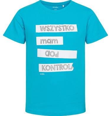 Endo - T-shirt z krótkim rękawem dla chłopca, z napisem mam wszystko pod kontrolą, niebieski, 2-8 lat C06G178_1 160
