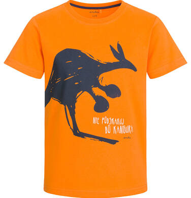 T-shirt z krótkim rękawem dla chłopca, z kangurem, pomarańczowy, 9-13 lat C03G527_1