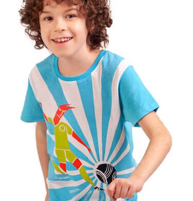 Endo - T-shirt z krótkim rękawem dla chłopca, z piłkarzem, biało-niebieski, 2-8 lat C03G070_1 275