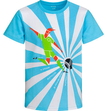 Endo - T-shirt z krótkim rękawem dla chłopca, z piłkarzem, biało-niebieski, 9-13 lat C03G570_1