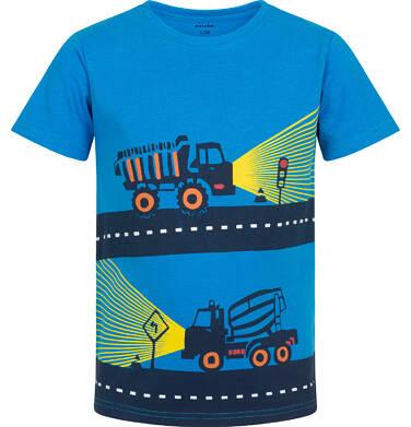 Endo - T-shirt z krótkim rękawem dla chłopca, z ciężarówką i betoniarką, niebieski, 2-8 lat C06G026_1 16