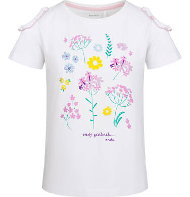 Endo - Bluzka z krótkim rękawem dla dziewczynki, z odkrytymi ramionami, biała, 9-13 lat D03G541_1 36