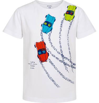 Endo - T-shirt z krótkim rękawem dla chłopca, z samochodami wyścigowymi, biały, 2-8 lat C06G027_1 6