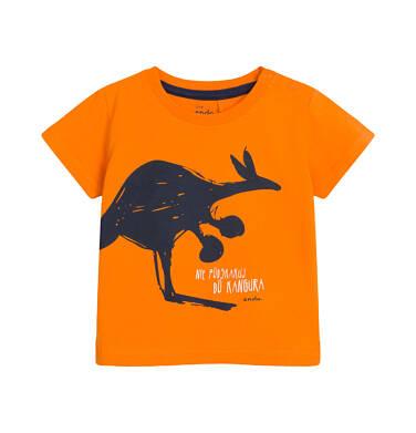 Endo - T-shirt z krótkim rękawem dla dziecka do 2 lat, z kangurem, pomarańczowy N03G003_1 25