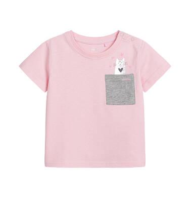 Bluzka z krótkim rękawem dla dziecka do 2 lat, z kieszonką i nadrukiem, różowa N03G033_1