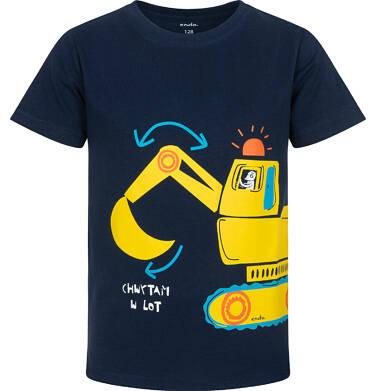 Endo - T-shirt z krótkim rękawem dla chłopca, z koparką, granatowy, 2-8 lat C06G029_1 2