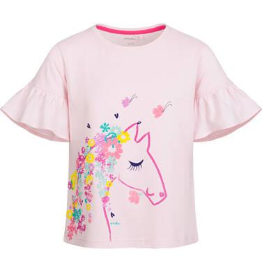 Bluzka z krótkim rękawem dla dziewczynki, z koniem i falbankami na rękawach, różowa, 2-8 lat D03G042_1