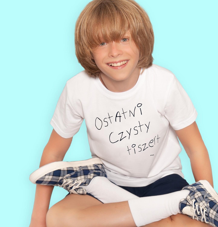 Endo - T-shirt z krótkim rękawem dla chłopca, z napisem ostatni czysty tiszert, kremowy, 9-13 lat C06G505_1