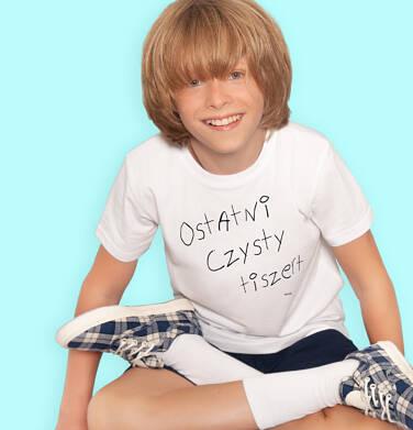 Endo - T-shirt z krótkim rękawem dla chłopca, z napisem ostatni czysty tiszert, kremowy, 9-13 lat C06G505_1 105