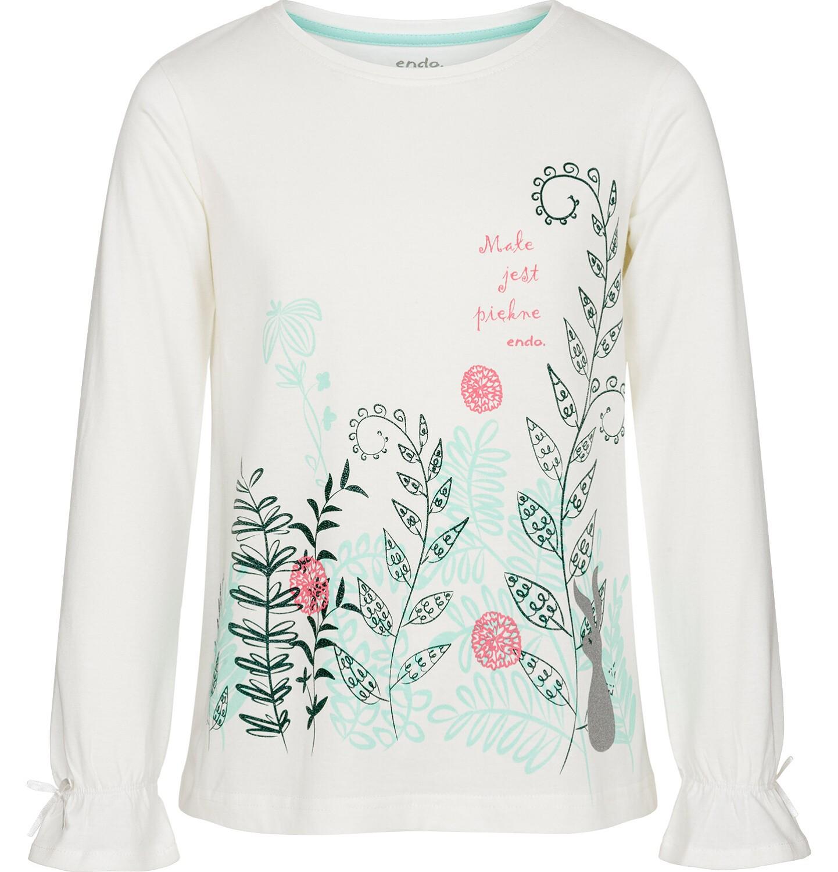 Endo - Bluzka z długim rękawem dla dziewczynki, małe jest piękne, złamana biel, 3-8 lat D92G102_1