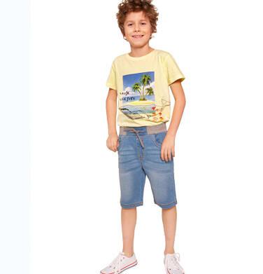 Endo - Krótkie spodenki jeansowe dla chłopca, z kontrastowym ściągaczem, 2-8 lat C03K032_1
