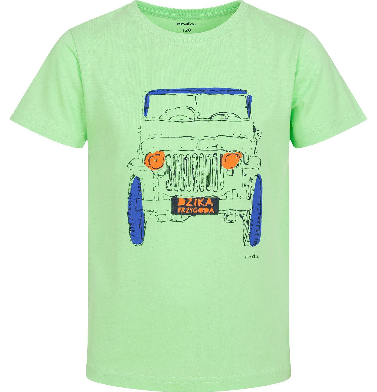 Endo - T-shirt z krótkim rękawem dla chłopca, z terenówką, zielony, 9-13 lat C06G037_1
