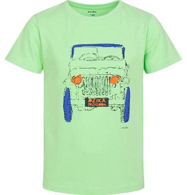 Endo - T-shirt z krótkim rękawem dla chłopca, z terenówką, zielony, 9-13 lat C06G037_1 12