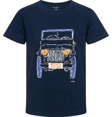 Endo - T-shirt z krótkim rękawem dla chłopca, z terenówką, granatowy, 9-13 lat C06G037_2 10