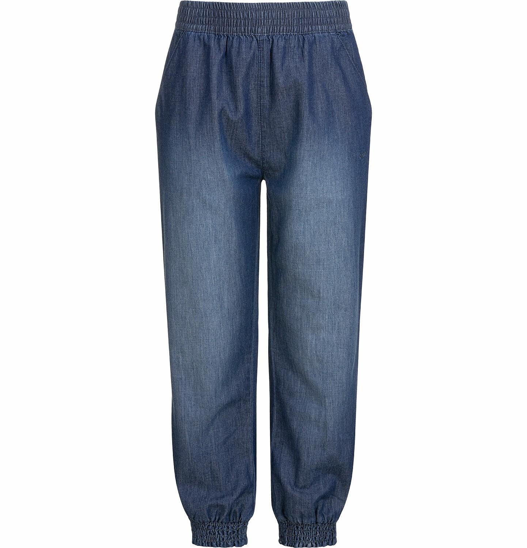 Endo - Spodnie jeansowe dla dziewczynki, luźny krój, z gumką w pasie i ściągaczami, 2-8 lat D03K051_2