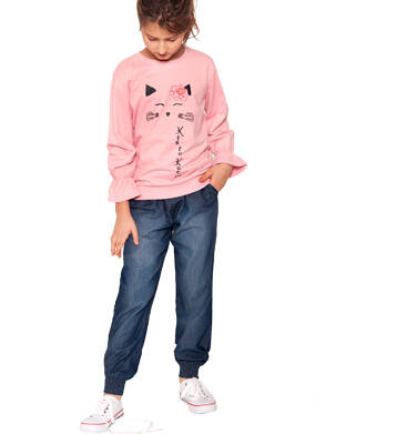 Endo - Spodnie jeansowe dla dziewczynki, luźny krój, z gumką w pasie i ściągaczami, 2-8 lat D03K051_2,3