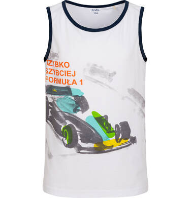 Endo - Koszulka bez rękawów dla chłopca, z bolidem F1, biała, 9-13 lat C06G039_1 242
