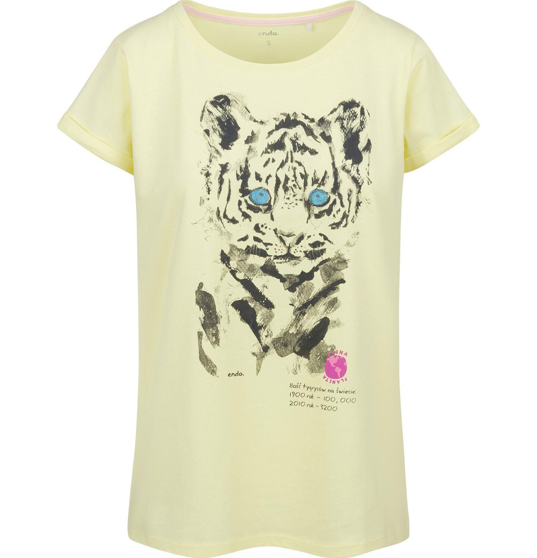 Endo - T-shirt damski z krótkim rękawem, z tygrysem, żółty Y03G007_2