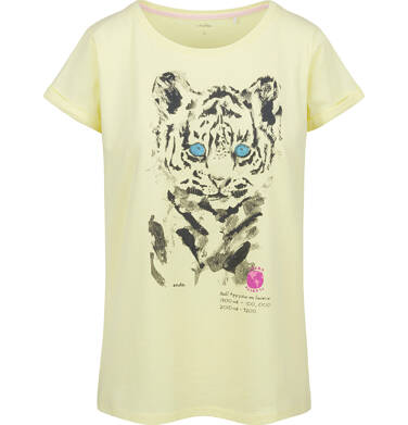 Endo - T-shirt damski z krótkim rękawem, z tygrysem, żółty Y03G007_2,1