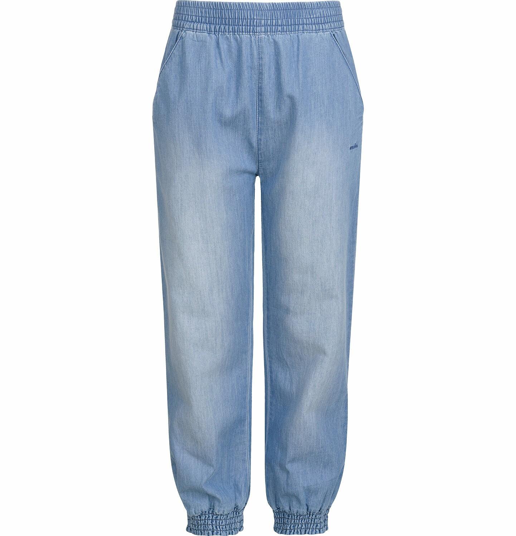 Endo - Spodnie jeansowe dla dziewczynki, luźny krój, z gumką w pasie i ściągaczami, 2-8 lat D03K051_3
