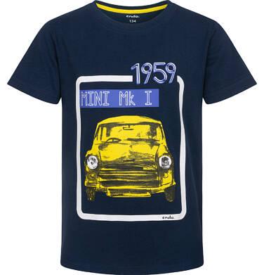 Endo - T-shirt z krótkim rękawem dla chłopca, z samochodem MINI 1959, granatowy, 9-13 lat C06G041_1 240