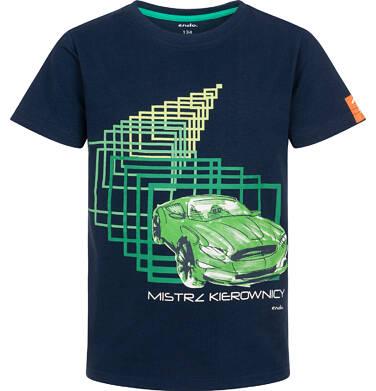 Endo - T-shirt z krótkim rękawem dla chłopca, z samochodem, granatowy, 9-13 lat C06G043_1 238