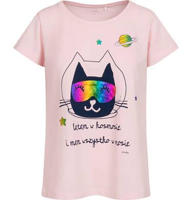 Endo - Piżama damska z krótkim rękawem, różowa z kotem astronautą Y05V010_1 11