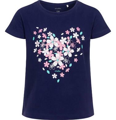 Endo - Bluzka z krótkim rękawem dla dziewczynki, z sercem, granatowa, 9-13 lat D06G017_2 200