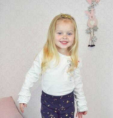 Endo - Bluzka z długim rękawem dla dziewczynki, z kieszonką, złamana biel, 3-8 lat D92G107_1,2
