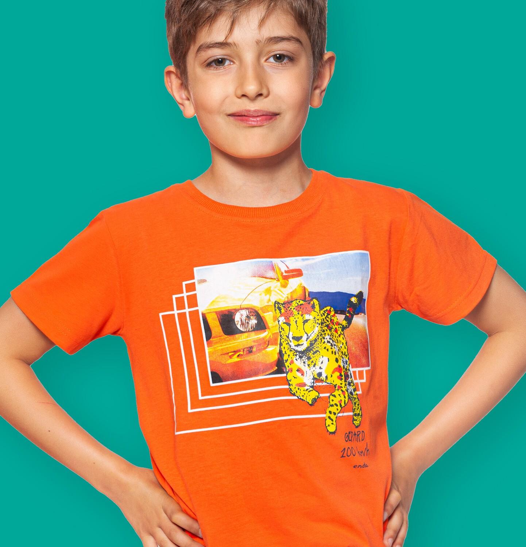 Endo - T-shirt z krótkim rękawem dla chłopca, z gepardem i samochodem, pomarańczowy, 9-13 lat C06G045_2